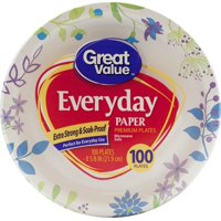 "Great Value Everyday Paper Lunch Plates, 8 5/8"", 100 Count"