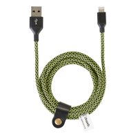 Blackweb Sync & Charge Cable with Lightning Connector and Cable Organizer, Black/Green, 6'