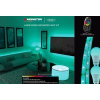 Monster Illuminessence Large Space LED Mood Lighting Kit with Premium RF Touch Remote That Controls All Lights at The Same Time