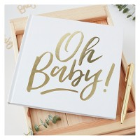 """Oh Baby"" Foiled Guest Book Gold"