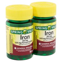 Spring Valley Iron Tablets Twin Pack, 65 mg, 200 count, 2 pack