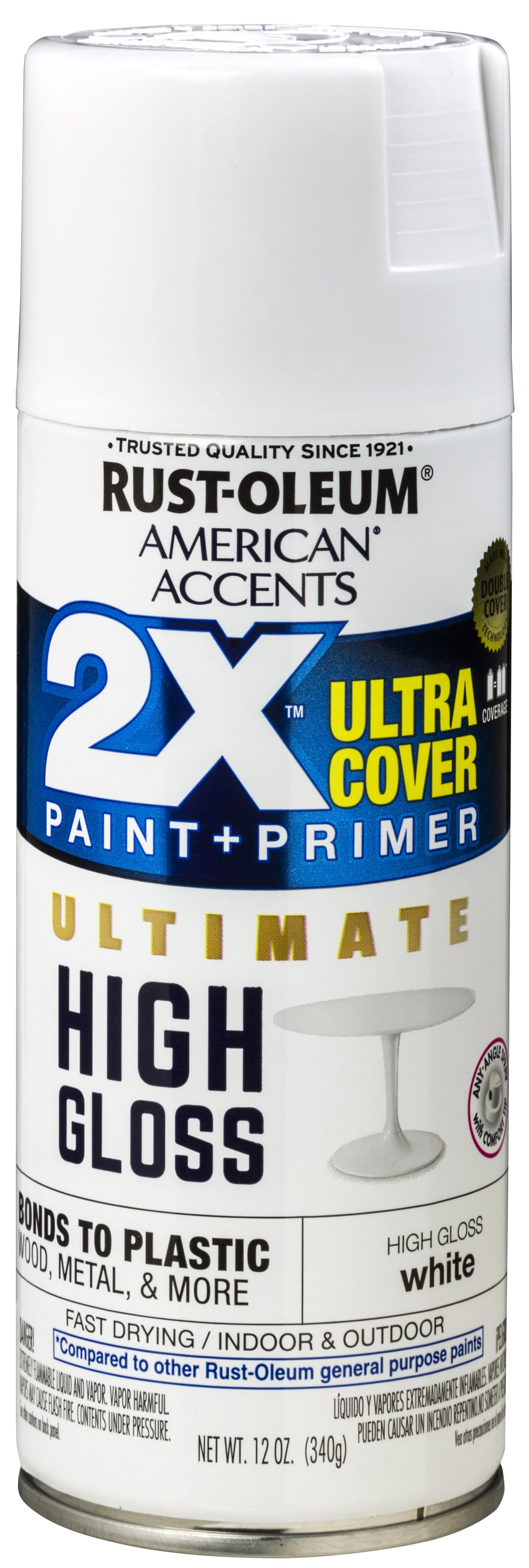 (3 Pack) Rust-Oleum American Accents Ultra Cover 2X Ultimate High Gloss White Spray Paint and Primer in 1, 12 oz