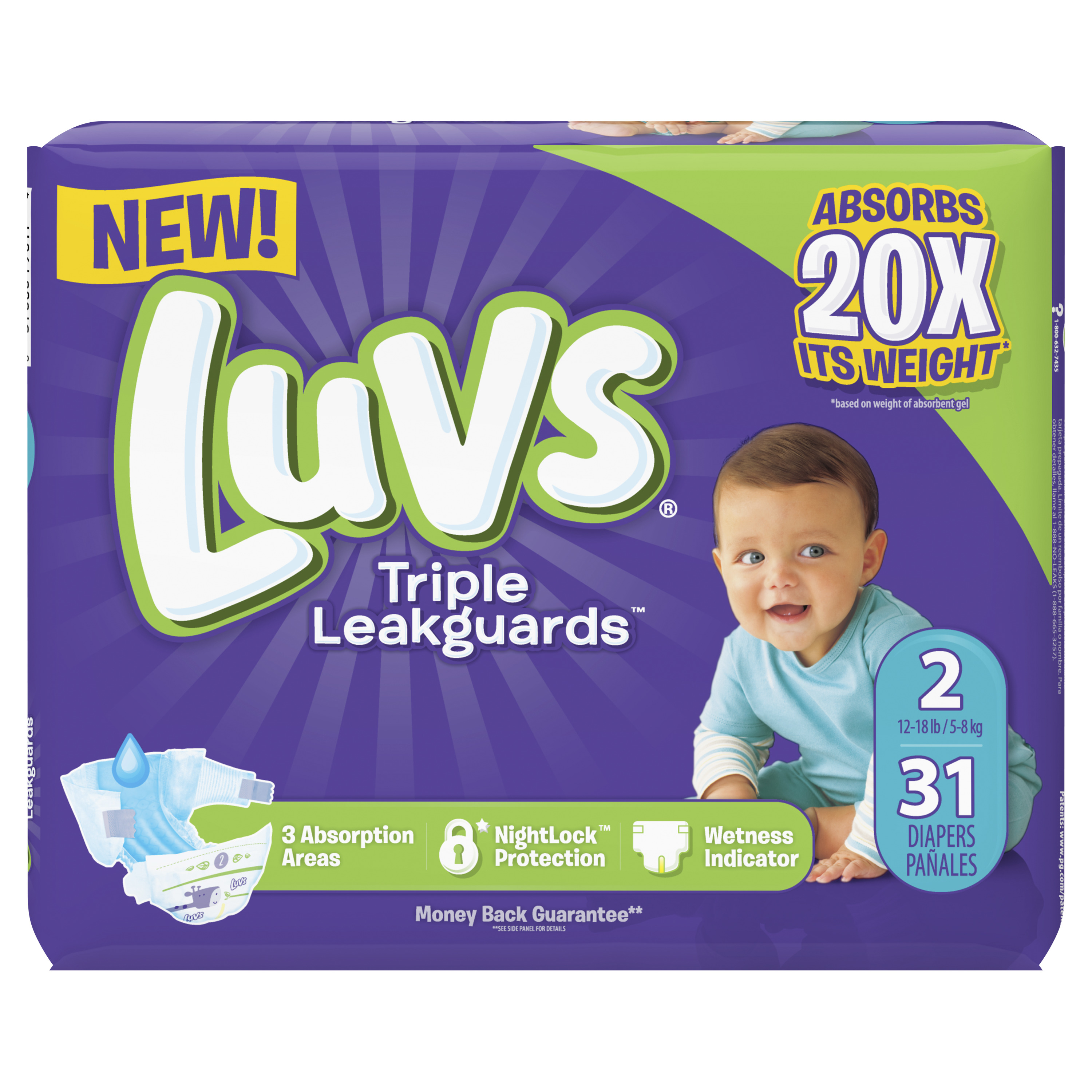 Luvs Triple Leakguards Extra Absorbent Diapers, Size 2, 31 Ct
