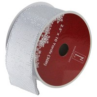 """Northlight Club Pack of 12 Gray Burlap Wired Christmas Craft Ribbon Spools - 2.5"""" x 12 Yards"""