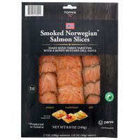 Foppen Salmon, Norwegian, Smoked, Toast-Sized Three Varieties, Slices
