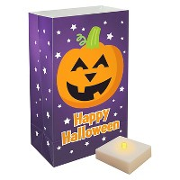 6ct Battery Operated LED Luminaria Kit with Timer - Pumpkin