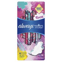 ALWAYS Radiant Teen Pads, Get Real Regular Unscented With Wings, 28 Count