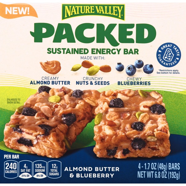 Nature Valley Sustained Energy Bar, Almond Butter & Blueberry, Packed