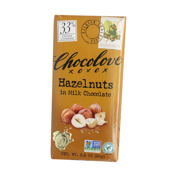 Chocolove Hazelnuts In Milk Chocolate Bar, 3.2 oz