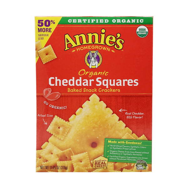 Annie's homegrown Organic Cheddar Squares Crackers, 11.25 oz