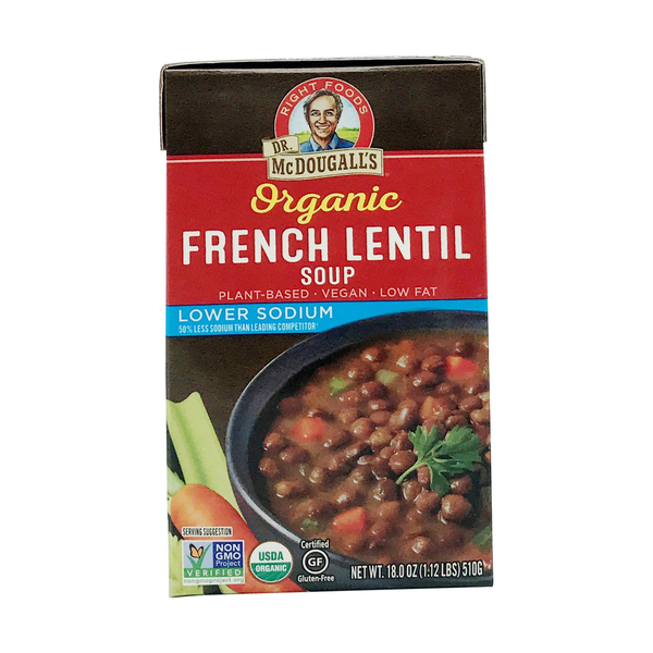 Dr. mcdougall's right foods Organic French Lentil Lower Sodium Soup, 18 oz