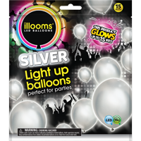 Illooms Light-Up Silver Party Balloons, 15 pack