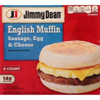 Jimmy Dean® Sausage, Egg & Cheese English Muffin Sandwiches, 8 Count (Frozen)