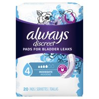 Always Discreet Incontinence Pads for Women, Moderate Absorb, 20 ct