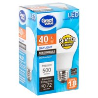 Great Value LED Light Bulb, 6W (40W Equivalent) A19 General Purpose Lamp E26 Medium Base, Non-dimmable, Daylight, 1-Pack