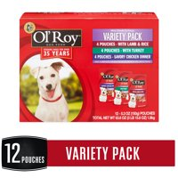 Ol' Roy Mini Chunks in Gravy Dog Food Variety Pack, 5.3 oz, 12 count
