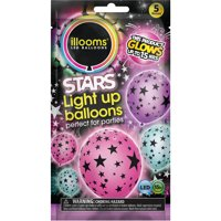 illooms Stars Mixed Color LED Light Up Balloons, 5-Pack