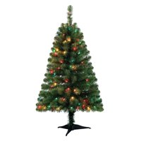 Holiday Time Pre-Lit 4' Indiana Spruce Green Artificial Christmas Tree, Multi-Lights