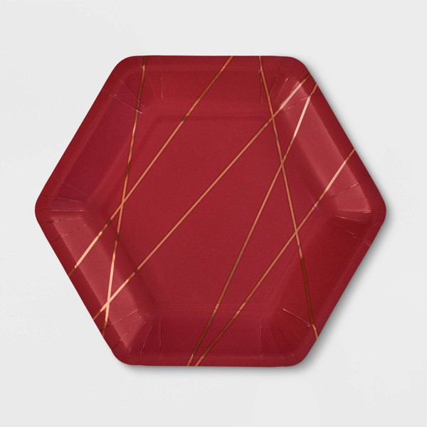 "20ct 7"" Hexagon Burgundy Metallic Snack Plate - Spritz™"