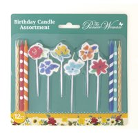 Pioneer Woman Pattern & Flower Birthday Candles, 12ct