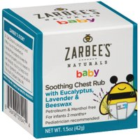 Zarbee's Naturals Baby Soothing Chest Rub with Eucalyptus, Lavender, Beeswax, , 1.5 Ounces (1 Box)
