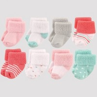 Luvable Friends Baby Girls' 8pk Polka Dot Terry Booties - Coral/Mint