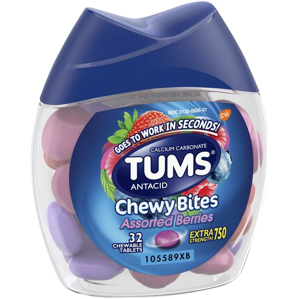 Tums Chewy Bites Extra Strength 750 Assorted Chewable Tablets Antacid