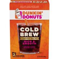 Dunkin' Donuts Cold Brew Coffee Packs, Smooth & Rich Ground Coffee, 8.46-Ounce