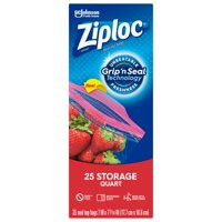 Ziploc Brand Storage Quart Bags with Grip 'n Seal Technology, 25 Count