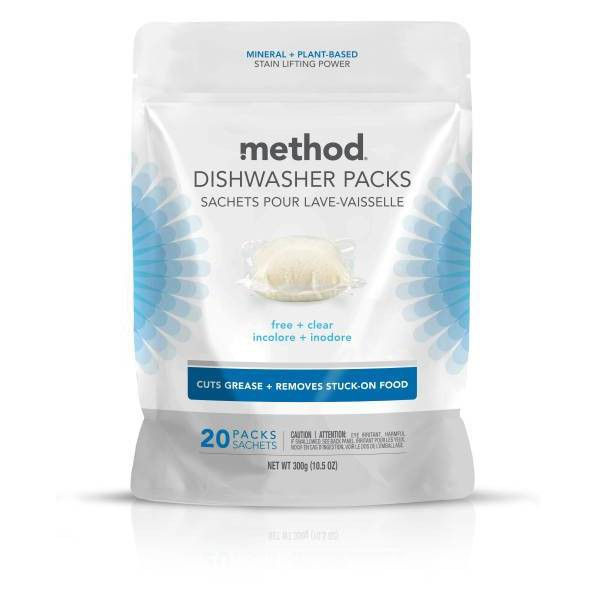 Method Dishwasher Detergent Power Packets Free & Clear - 20ct