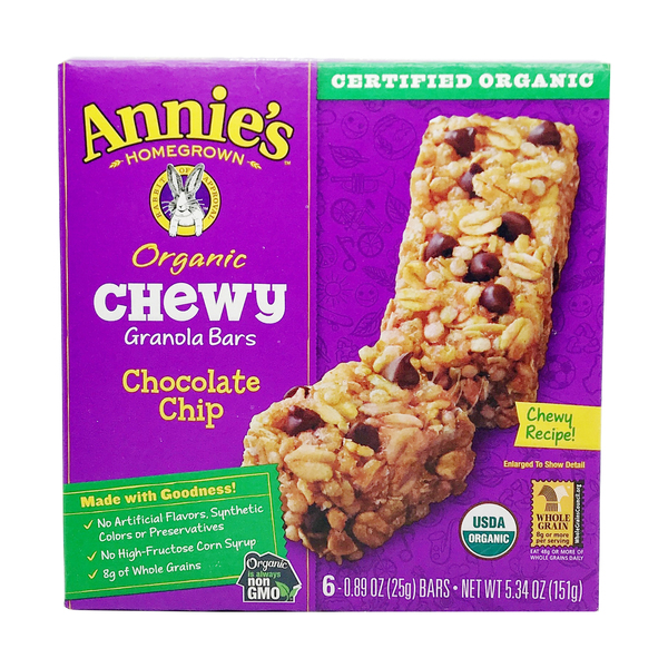 Annie's homegrown Organic Chocolate Chip Chewy Granola Bar, 5.34 oz