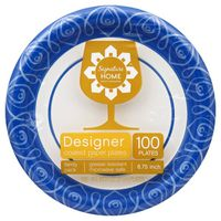 Signature Home Paper Plates, Coated, Designer, 8.75 Inch, Family Pack