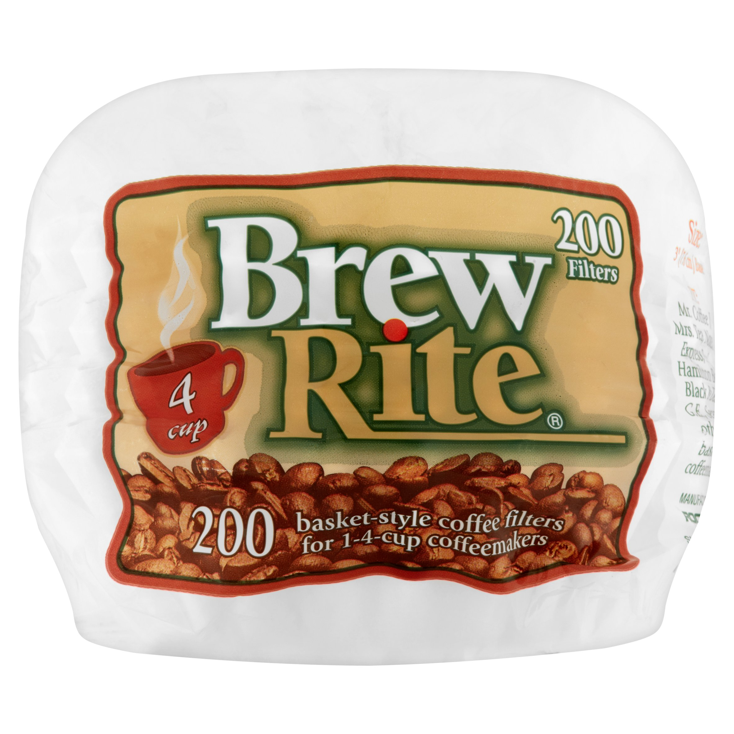 (6 Pack) Brew Rite 4 Cup Basket Filters, 200 ct