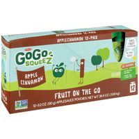 GoGo Squeez Apple Sauce, Apple Cinnamon, Fruit On The Go, 12 Pack