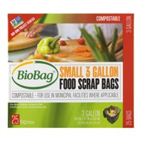 BioBag Compostable Food Scrap Bags, 3 Gallon, 25 Bags