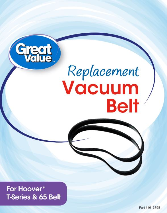 Great Value Replacement Vacuum Belts, For Hoover T-Series & 65 Belt, 2 Count