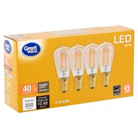 Great Value LED ST12 4 Watts Amber Light Candelabra Base Bulbs, 4 count