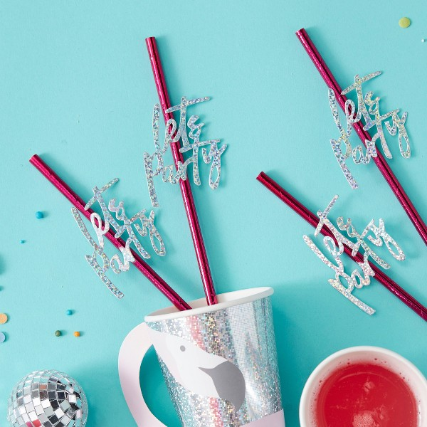 Party Decoration Straws Pink