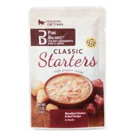 Pure Balance Classic Starters Shredded Chicken & Beef Recipe in Broth Gourmet Cat Treats, 1.4 oz