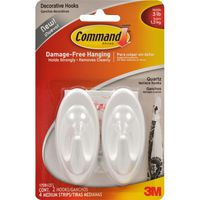3M Command Terrace Hook Quartz Medium, 2 hooks, 4 strips/pk