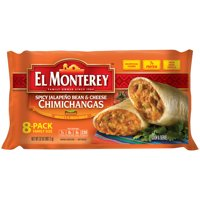 El Monterey Spicy Jalapeno, Bean, and Cheese Chimichangas, Authentic Mexican Recipe Frozen Chimichangas, 8 Count Bag