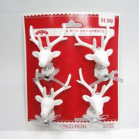Holiday Time Mini Ornament, Glitter Deer, Silver, 4 Count