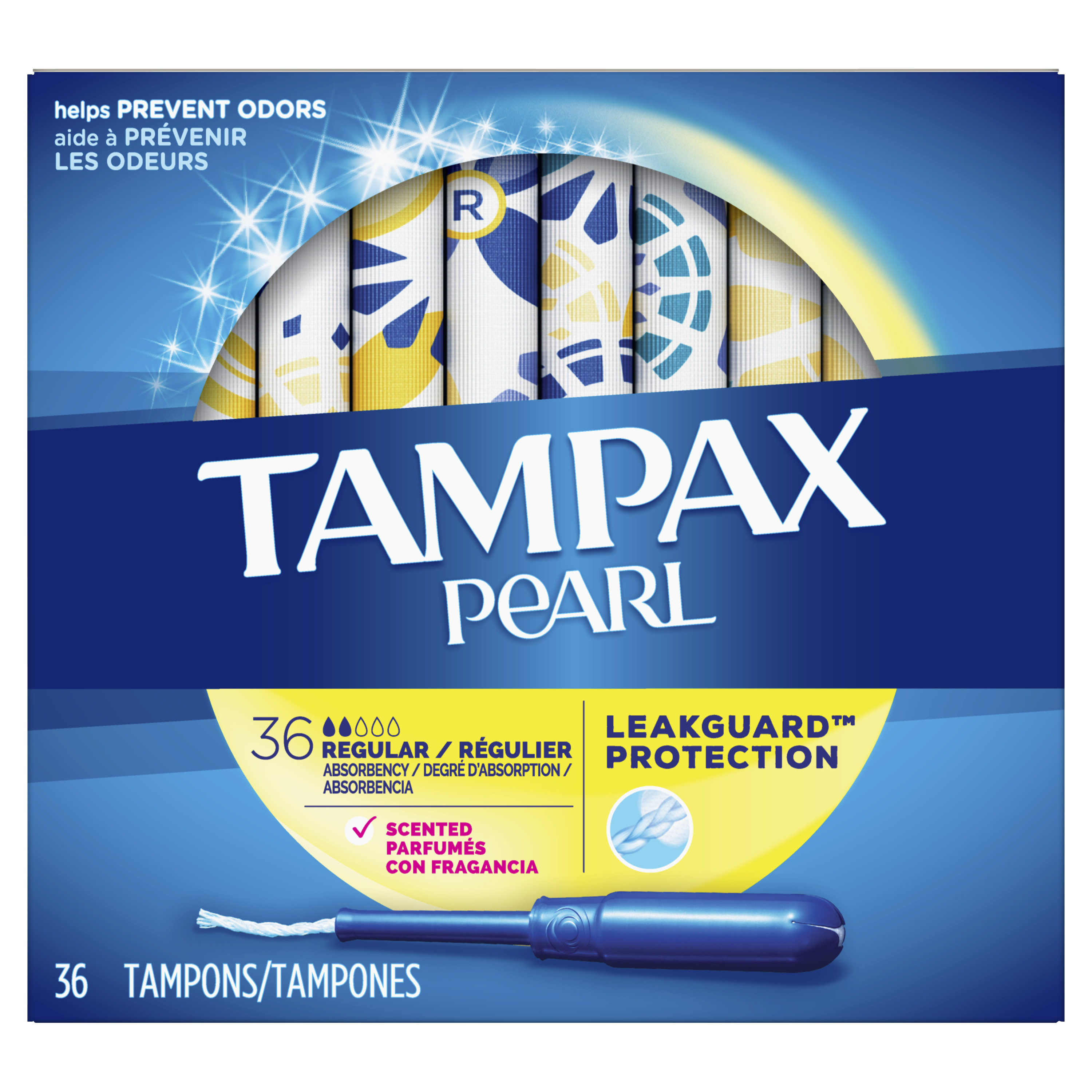 TAMPAX Pearl, Regular, Plastic Tampons, Scented, 36 Count