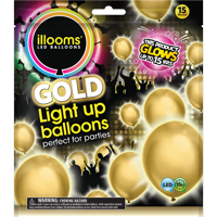 Illooms Light-Up Gold Party Balloons, 15 pack