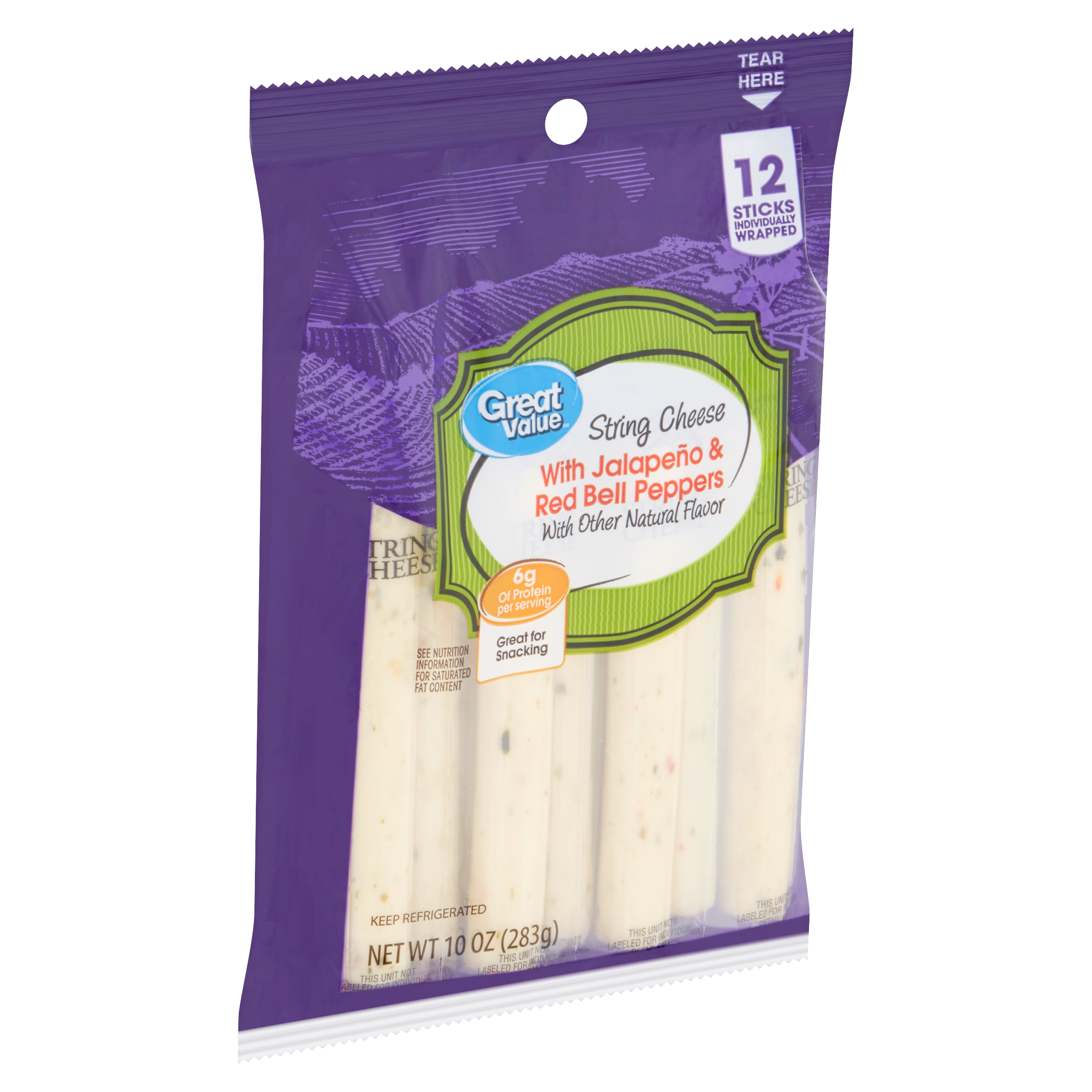Great Value String Cheese with Jalapeño & Red Bell Peppers, 12 count, 10 oz