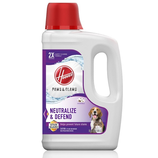 Hoover Paws & Claws Deep Cleaning Carpet Cleaner Shampoo with Stainguard Solution for Pets 64oz