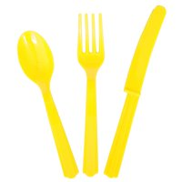 Neon Yellow Plastic Utensils Set for 8 Guests (24pc)