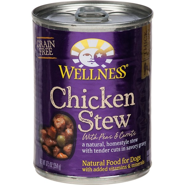 Wellness Food for Dogs, Natural, Grain Free, Chicken Stew, with Peas & Carrots