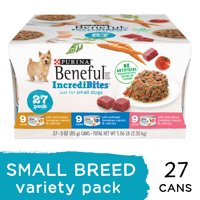 (27 Pack) Purina Beneful Small Breed Wet Dog Food Variety Pack, IncrediBites, 3 oz. Cans