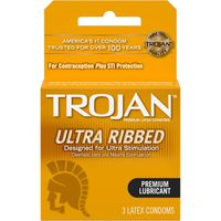 Trojan Stimulations Ultra Ribbed Lubricated Condom, 3Ct
